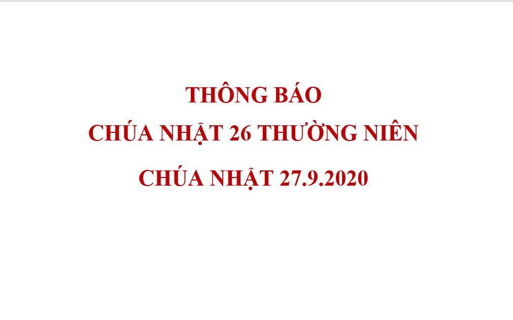 THÔNG BÁO CHÚA NHẬT 26 THƯỜNG NIÊN