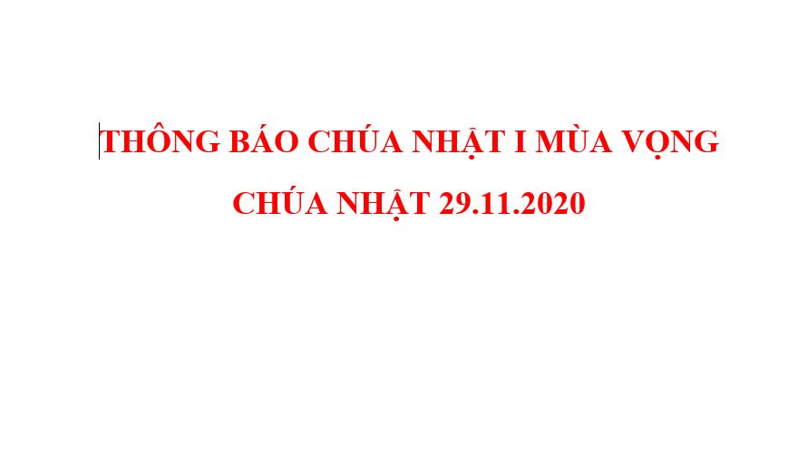 THÔNG BÁO CHÚA NHẬT I MÙA VỌNG  CHÚA NHẬT 29.11.2020